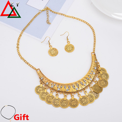 Honorable Women Necklace Earrings set Ladies Luxury Jewellery Accessroies Metal Style Punk coins golden one size