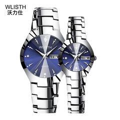 WLISTH Brand 2PCS Set Couples Wrist Watches Men Women Lovers Luminous Waterproof Quartz Wristwatches blue 2pcs(1f+1m)
