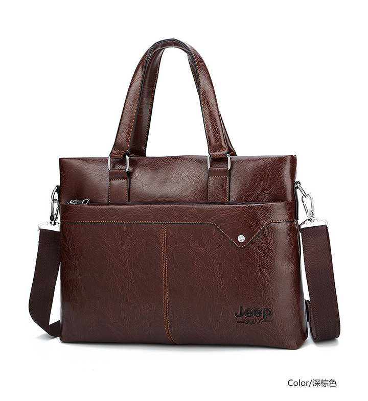 JEEP Brand Commuter Bag men handbags classic men's travel bags messenger bag Briefcase brown one size