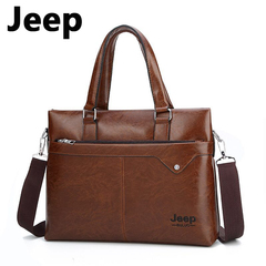 JEEP Brand Commuter Bag men handbags classic men's travel bags messenger bag Briefcase light brown one size