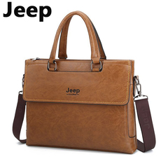 JEEP Brand Commuter Bag men handbags for men classic travel bags messenger bag Briefcase light brown one size