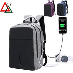 Business Laptop Backpack,Waterproof USB Charging Port Headphone interface handbags for men gray one size