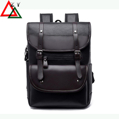 PU Leather Backpacks Men's Fashion Travel Bags College Style Bags schoolbag Commuter Bag Briefcase black one size