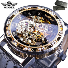 WINNER Royal Men Mechanical Watch high grade leather strap Top Brand Luxury Skeleton watches A one size