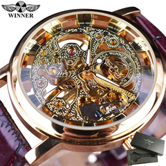 WINNER Royal Men Mechanical Watch high grade leather strap Top Brand Luxury hollow out watches a one size