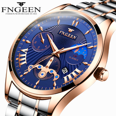 FNGEEN Luxury Wrist Watches Waterproof Quartz Luminous watch for Men Stainless steel strap color strap-blue one size