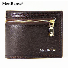 MenBense Brand High Quality Vintage Men Wallet Leather Luxury Short Male Clutch Wallets purse brown one size