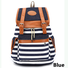 16inch Canvas bag Backpack leisure shopingbag schoolbags handbags for ladies men lapyops bags blue one size