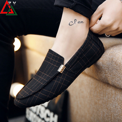 Men's fashion sneakers Loafers Slip-Ons casual men shoes Comfortable Lazy shoes men shoe black 39