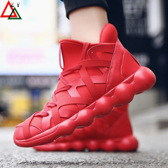 Fashion sneakers men shoes casual  men shoe Sports Running Breathable shock resist shoes Board Shoes red 38