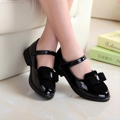 Fashion Children kids shoes Girls Casual Sneakers Leather shoes Princess Dancing Shoes dress shoes black 27