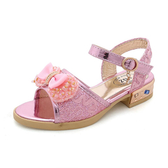 Fashion Children Lace Bow kids shoes Girls shoes Princess Dancing Shoes dress shoes pink 26