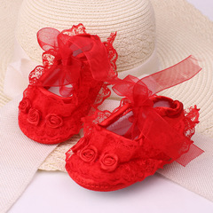 baby soft bottom shoes 0-1-year-old baby princess shoes non-skid kids shoes red 11