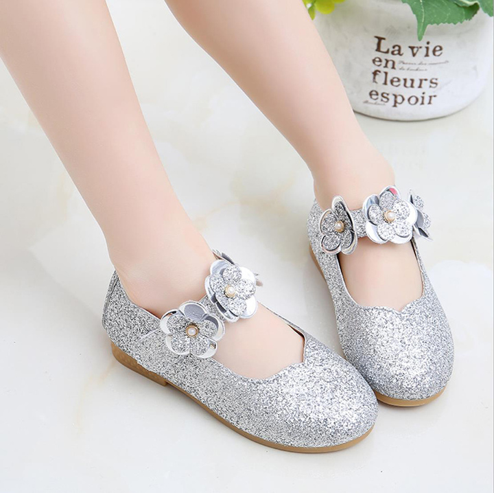 Fashion Children glittering kids shoes girls sneakers shoes Princess dancing Shoes dress shoes white 21