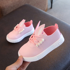 Rabbit Pearls kids shoes Girls Casual Sneakers Leather shoes Princess Dancing Shoes dress shoes pink 21