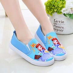 Fashion sneakers cartoon comfortable soft Canvas Shoes Girls Boys kids shoes casual shoes blue 25