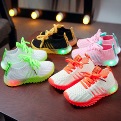Fashion fabric comfortable soft LED Shoes Girls Boys kids shoes casual sneakers green 26