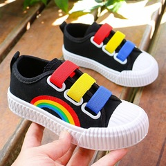 Kids canvas Rainbow shoes comfortable soft casual shoes kids sneakers boots black 34