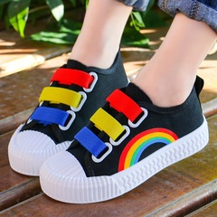 Fashion canvas Rainbow shoes comfortable soft boys Shoes Girls kids shoes casual sneakers boots black 28