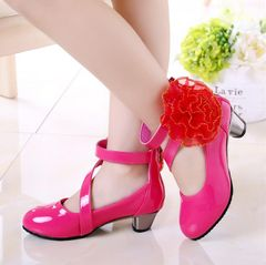 Fashion Princess shoes girls leather dress shoes Teenagers shoes kids shoes children shoes boots rose red 34
