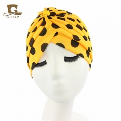 Fashion Luxurious ladies Headscarf Hat Sleeping Bonnet Hair Wrap Cap Dazzling Head Scarf Headwear yellow spots