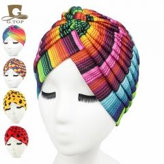 Fashion Luxurious ladies Headscarf Hat Sleeping Bonnet Hair Wrap Cap Dazzling Head Scarf Headwear yellow spots