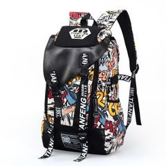【New arrival】Fashion Graffiti bag Canvas bag Backpack Handbags for men Travelling bag Schoolbags yellow 18inch