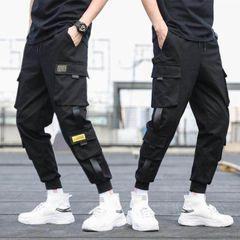 Bargains Fashion Trousers Long Pants Overalls Hip hop Multi-pocket Cargo Sweatpants Men's Clothes Black l(58-65kg)