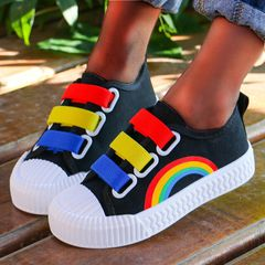 Fashion canvas Rainbow shoes comfortable soft boys Shoes Girls kids shoes casual sneakers boots black 27