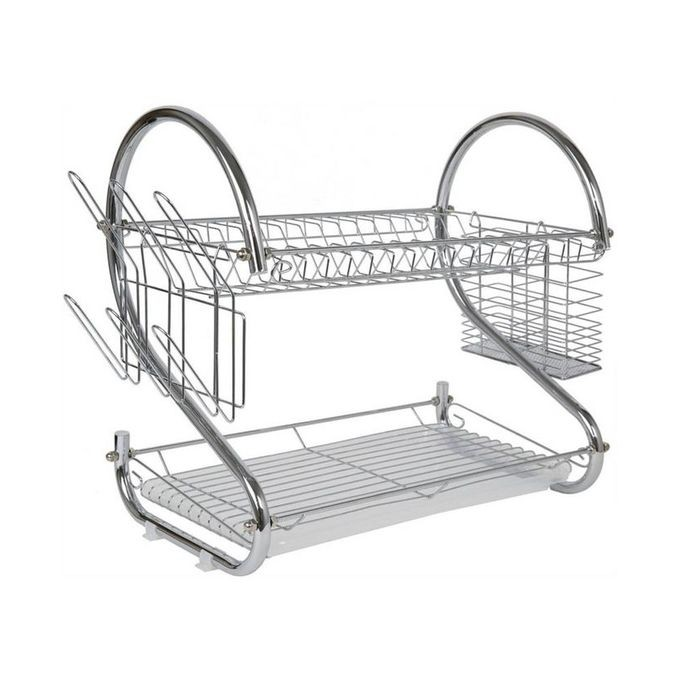 Generic 2 Tier Stainless Steel Dish Drainer Drying Rack - Silver great