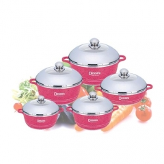 Non-Stick Cooking Pots - 10 Pieces - Pink pink