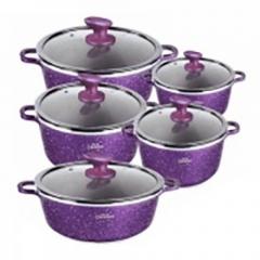 Granite Non-Stick Cooking Pots - 10 Pieces - Purple purple