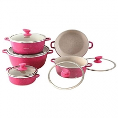 Granite Non-Stick Cooking Pots - 10 Pieces - Pink pink