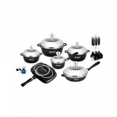 Italian- 22 piece Non-Stick DieCast Cooking Pots - Black black