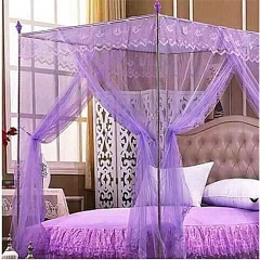 Four Corner Post Bedding Canopy Mosquito Netting purple 4X6