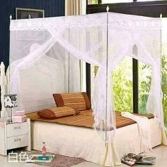 Four Corner Post Bedding Canopy Mosquito Netting white 4X6