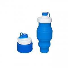 Sports Collapsible Water Bottle Folding BPA Free Retractable Silicone Water Bottle blue