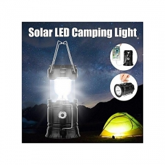LED Portable Solar Rechargeable Light Lantern Outdoor Camping Lamp USB Charger Black black 34 common