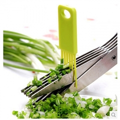 Stainless Steel 5 Shears Blade Cut Shredding Scissors Vegetable/Herb Kitchen Tool green one size
