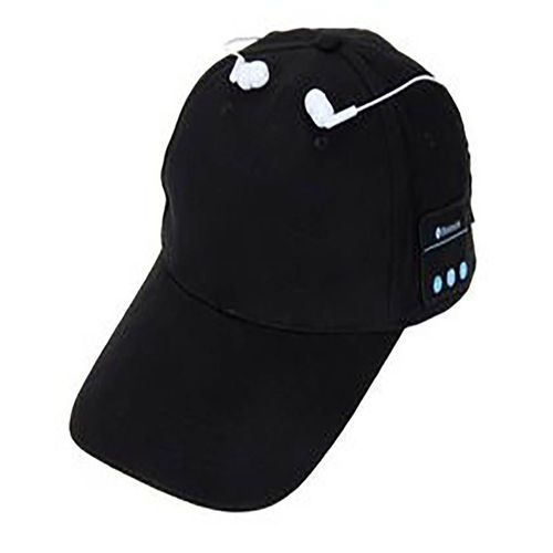 Wireless Headset Bluetooth Baseball Cap Hands-Free Sports Mic Adjustable - Black black one size