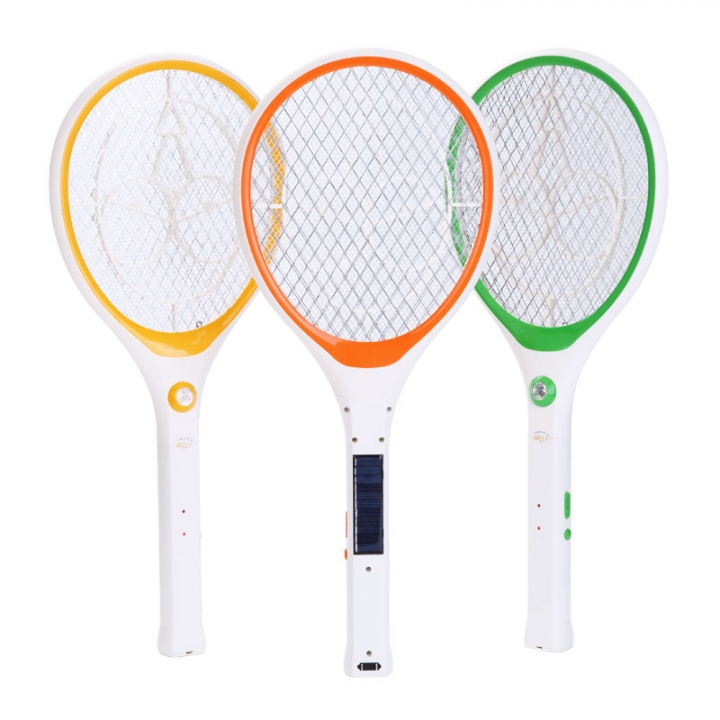 Electric Mosquito swatter home mosquito swatter insect-repellent solar charge white n orange