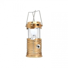 Solar Bright LED Outdoor Recharge For Home, Camping Tent Light Lantern Hiking Fishing Lamp (Gold) gold normal medium