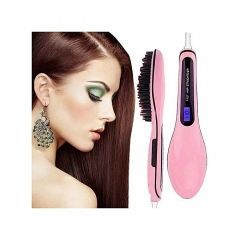 Professional Hair Straightener Comb Brush LCD Display Electric Heating Irons-Pink pink one size