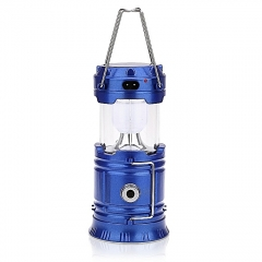 Solar Bright LED Outdoor Recharge Camping Tent Light Lantern Hiking Fishing Lamp (Blue) blue