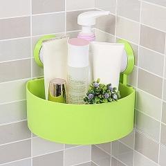 Wall Corner Triangular Shelf Organizer Rack with Suction Cup - Green green one size