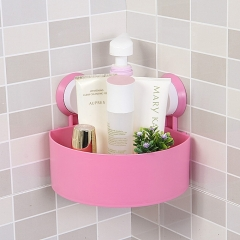 Wall Corner Triangular Shelf Organizer Rack with Suction Cup - Pink pink one size