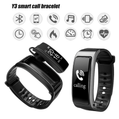 Y3 Bluetooth Headset Talk Smart Bracelet heart rate monitor Sports Smart  Band Call listen music black