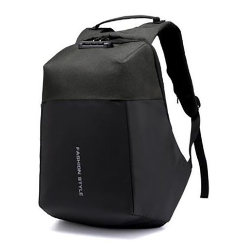AntiTheft Backpack with USB charging And Code Lock Password - Black black one size