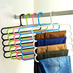 4 pieces 5 Bar Trouser Hanger Rack - Hold 5 Pairs Of Trousers - Ties Scarves - Blue blue