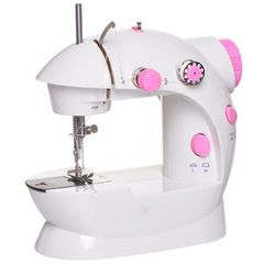 Multifunction Electric Mini Sewing Machine - White And Pink pink and white